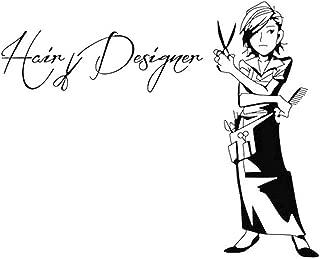 Diseñador Adhesivos De Pared Pelo De Pared De Vinilo Pegatinas Decal para Cosmética Peluquería Barbería Decoración Negro