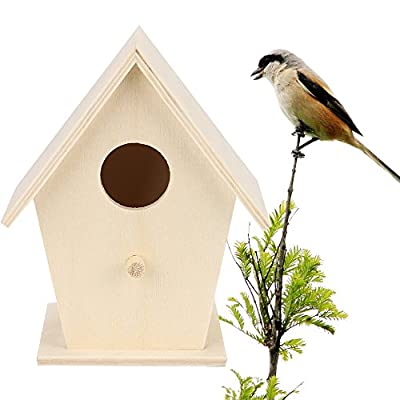 ToDIDAF Wooden Bird House, Creative Wall Hanging Wood Hummingbird House Wood Wooden Standing Birdhouse Bird Box Wooden Box Home Outdoor Garden Decoration Accessory by ToDIDAF