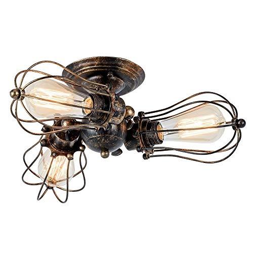 Vintage plafondlampen, verstelbaar stopcontact, industriële lamp, kooilamp, metaaldraad, halve inbouw, hanglamp, landhuisstijl, kroonluchter, retro binnenverlichting