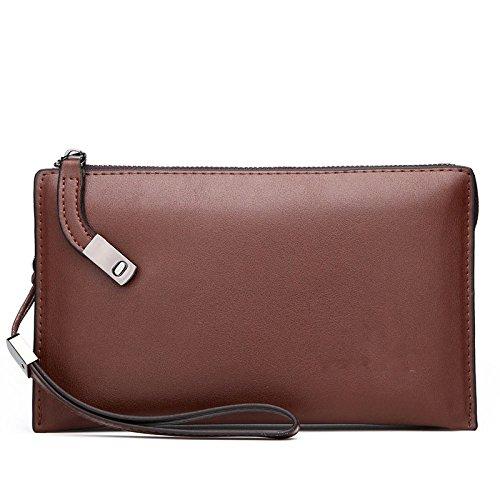 GKKXUE Männer Brieftasche Business Casual Clutch-Taschen Große Kapazität Handy-Taschen Business Taschen Europäischen Und Amerikanischen Mode Taschen,Brown-OneSize