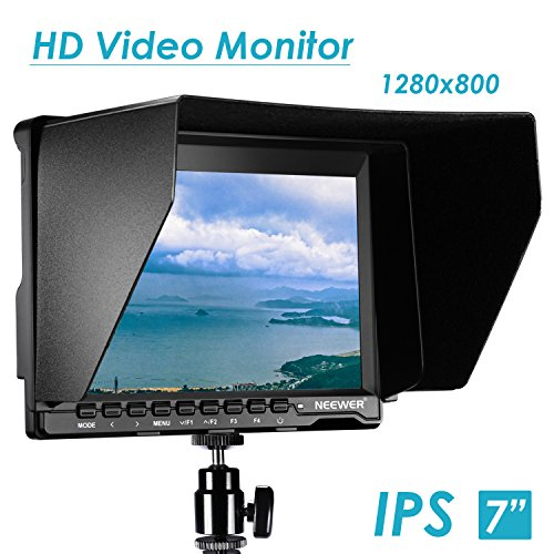 Neewer NW759(C) 7 inches Camera Field Monitor Kit: 1280x800 IPS Screen Monitor, 2 Packs LP-E6 Replacement Li-ion Battery, Dual LCD Battery Charger for Nikon Sony Canon Olympus Pentax Panasonic Cameras