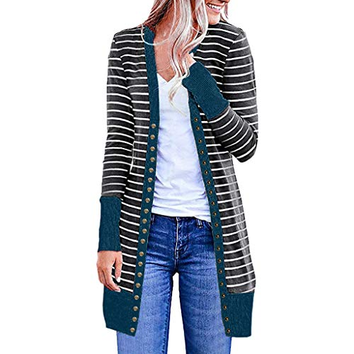 Check Out This perfectCOCO Women Casual Long Sleeve Striped Cardigan Patchwork Long Loose Knit Sweat...