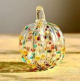 Hophen Art Glass Blown Pumpkin Figurine Colorful Spots Thanksgiving Day Hollow Pumpkin Statue Home Decoration (Rainbow Spots)