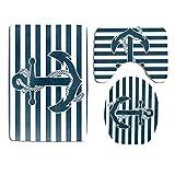 Nautisches Badezimmerteppich-Set,3-teilig, Marineblau, Anker, Blau, gestreift, rutschfest, Badematte, U-förmige Konturmatte, WC-Deckelbezug-Sets aus strapazierfähigem Flanell
