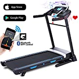 ANCHEER 3.25HP Automatic Incline Treadmill, Folding Treadmill with Bluetooth Speaker, Walking Jogging Running Machine with APP Control for Home Gym