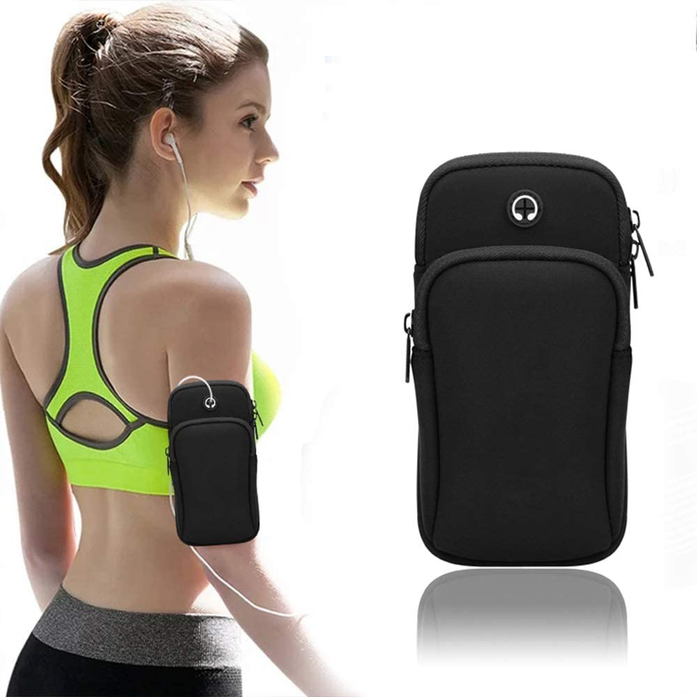 VodTiuKia Running Armband,Arm Bag Phone Holder for Running,Multi Cell Phone Armband Pouch for Gym Workout Jogging Exercise,Suitable with iPhone 11 Pro Max XS XR X 8 7 6 6s Plus (Black)