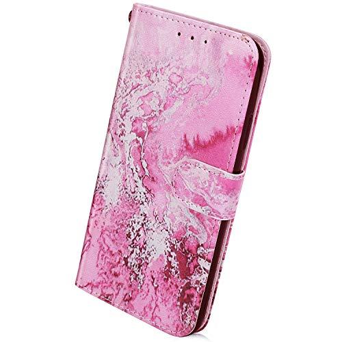 Herbests Kompatibel mit Samsung Galaxy A10 Handyhülle Muster Retro Bunt Muster Flip Case Schutzhülle Brieftasche Hülle Wallet Tasche Leder Hülle Klapphülle Kredit Karten,Ozean Wasser