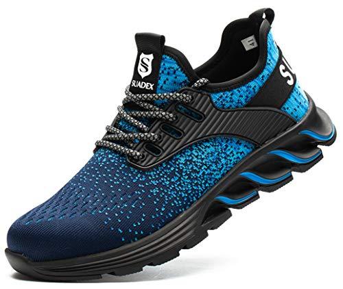 SUADEX お洒落 安全靴スニ一カ一 ブルー あんぜん靴 作業靴スニ一カ一 工事現場 通気性 鋼先芯 ケブラー 耐摩耗 防刺 耐滑 ワークシューズ セーフティーシューズ