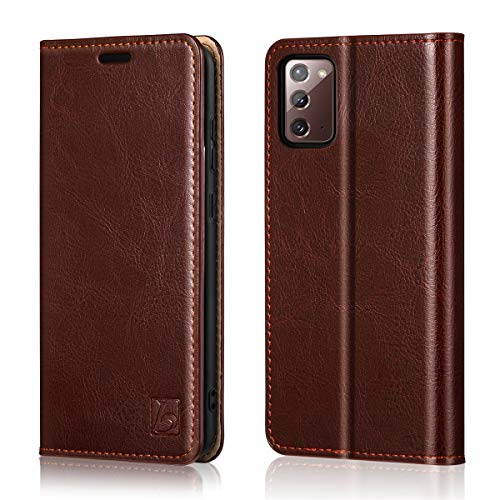 Belemay Wallet Case for Samsung Galaxy Note 20 5G, [Cowhide Leather] Flip Folio Cover [RFID Blocking] Card Holder Book Folding Case with Kickstand Cash Pocket Slim Fit for Galaxy Note 20 5G 6.7' Brown