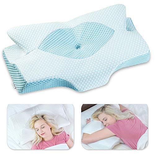 Elviros Almohada de Espuma con Memoria de Contorno Cervical para el Dolor de Cuello, Almohadas para Cuello (Azul, 64 x 12,5/10,5 x 42 cm)