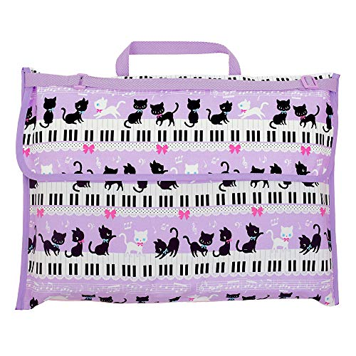 防災頭巾カバー スタンダード(背板幅36cmタイプ) ピアノの上で踊る黒猫ワルツ(ラベンダー) N4711600