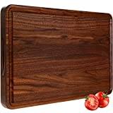 AZRHOM Large Walnut Wood Cutting Board for Kitchen 17x11 Cheese Charcuterie Board (Free Gift Box) Extra Thick Reversible Butcher Block Chopping Board with Handles and Juice Groove