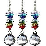 Crystal Ball Pendant Suncatcher 3 Pcs Crystal Chandelier Pendants Beads Chain Parts Glass Beads Teardrop...