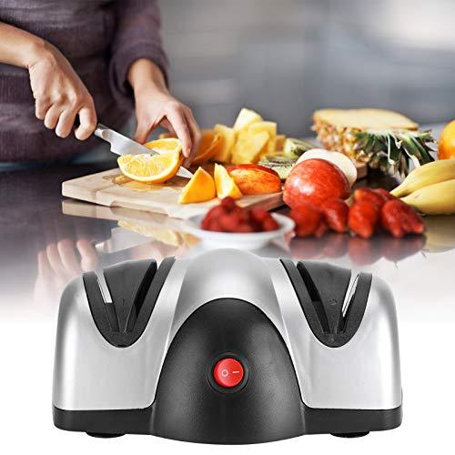 Voluxe Afilador de Cuchillas, Instrumento de Afilado de Cuchillas Negro Plateado con Afilado de Doble guía para Cuchillos de Cocina para el hogar