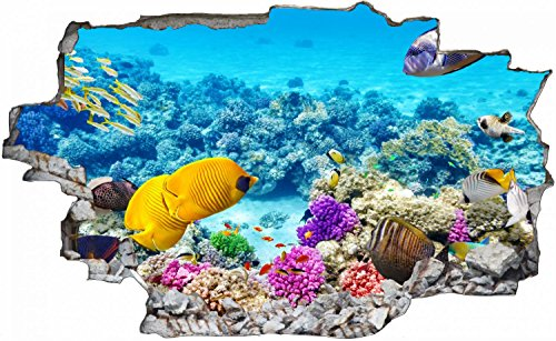 Fische Riff Unterwasser Meer Wandtattoo Wandsticker Wandaufkleber C0150 Größe 70 cm x 110 cm
