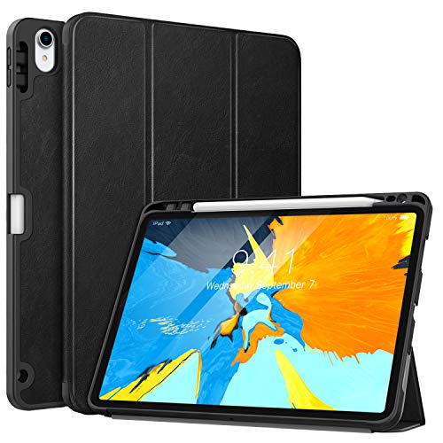 MoKo Case Fit iPad Pro 11' 2018 with Pencil Holder [Support Magnetically Attach Charging/Pairing Feature] - Slim Lightweight Smart Shell Stand Cover Case with Auto Wake/Sleep - Black