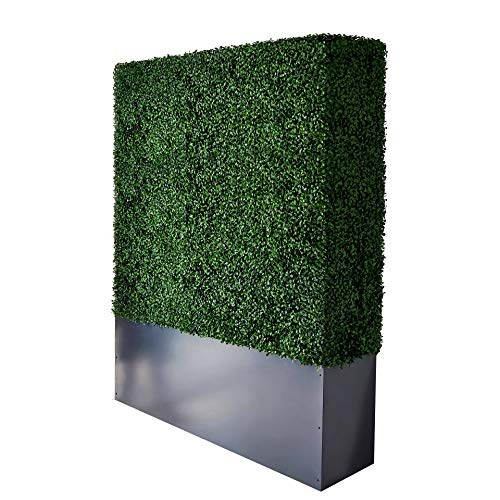 AGPL Artificial Boxwood Hedge Wall with Dark Gray Stainless Steel Planter Box(64' H 48' W 12' D)...
