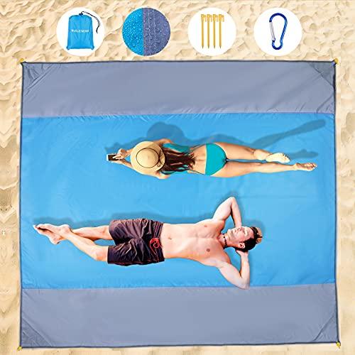 WZLEMOM Manta de Picnic Manta de Picnic Impermeable, Alfombras de Playa Manta Picnic Impermeable Manta de Playa Esterilla Playa, 200 x 210cm con 4 Puertos de Almacenamiento, para Viajar, Acampar