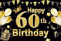 写真の誕生日をテーマにした背景の壁の装飾パーティーハッピー60歳の誕生日の背景シルバーグリッターダイヤモンドパール60歳の誕生日パーティーの写真の背景カスタムビニールバナー