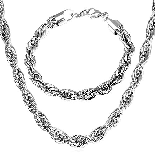 U7 Jewelry Men 9mm Stainless Steel Twisted Rope Chain Necklace Bracelet Set - Bracelet 8.3 Inch,Necklace Length 18