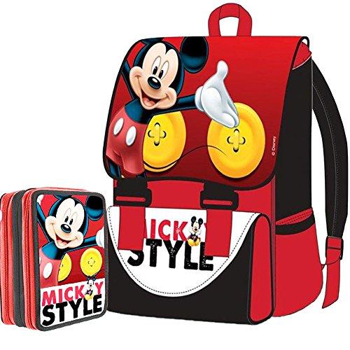 Kit Scuola School Promo Pack Zaino Estensibile + Astuccio 3 Zip Disney Mickey Mouse Topolino Edizione 2015-2016