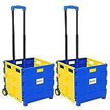 WOLTU EW4805gb 2er Einkaufswagen 64L Einkaufstrolley Einkaufsroller Shopping Trolley klappbar bis 35kg 100x42x40,5cm Blau-Gelb
