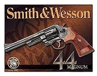 ブリキ看板 Smith Wesson スミス ウェッソン 44Magnum 44マグナム S&W 看板 雑貨 壁掛け ガレージ 店舗 30cm×40cm