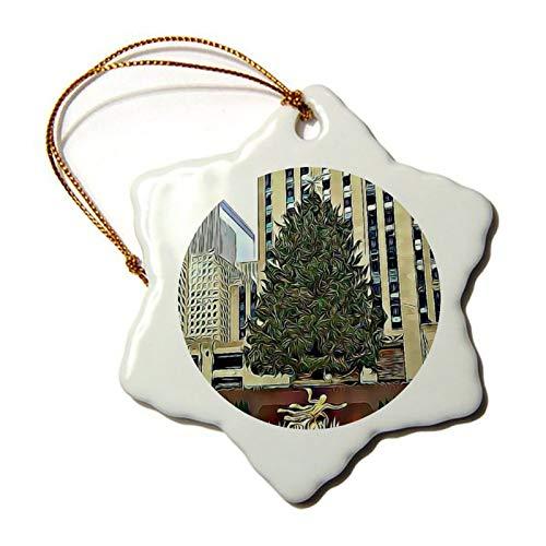 Nyc Rockefeller Weihnachtsbaum, Eislaufbahn, Porzellan, Schneeflocken-Ornament, Baumdekoration, Geschenk für Familien und Freunde, 7,6 cm