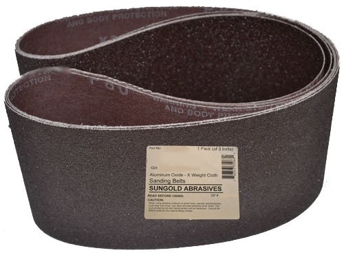 Sungold Abrasives 6X48T80 80 Grit Premium Industrial X-Weight Aluminum Oxide Sanding Belts, 6' x 48' (Pack of 3)
