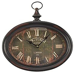 Hanging Oval Wall Clock Victoria Station London 1879 Pocket Watch Style
