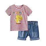 Loalirando Completo Bambino Estive Camicia Cime T-Shirt a Maniche Corte e Pantaloncini Set Coordinato 2 Pezzi Magliette con Stampa Dinosauro da Spiaggia Mare (Rosa, 2-3 Anni) …