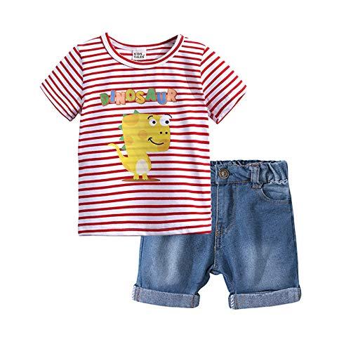 Loalirando Juego de camiseta de manga corta y pantalones cortos para niño, de verano, 2 piezas, camisetas con impresión de dinosaurio, para playa, playa, etc. Rosa 4- 5 Años