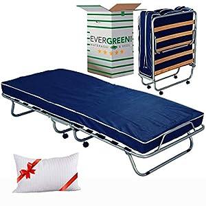 Evergreenweb - Cómoda cama plegable de invitados con colchón de espuma de 80x190, 10cm de altura, con almohada viscoelástica