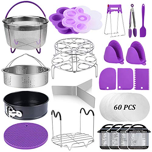 82 Pcs Pressure Cooker Accessories Set Compatible with Instant Pot 5,6,8 Qt, 2 Steamer Baskets, Springform Pan, Stackable Egg Steamer Rack, Egg Bites Mold, Steamer Rack Trivet, Parchment Papers & More
