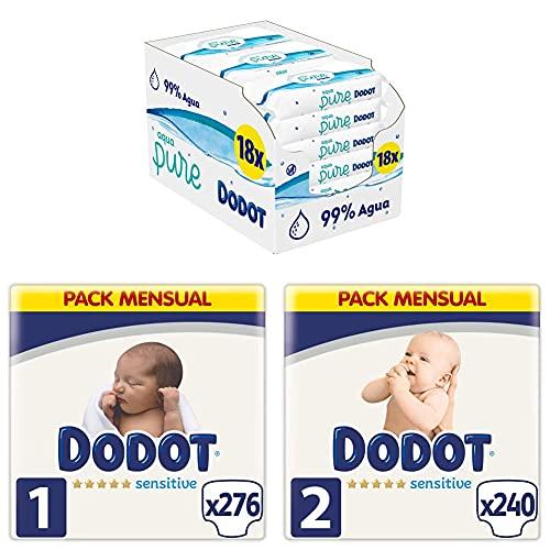Dodot Pañales Bebé Sensitive Talla 1 (2-5 kg), 276 Pañales + Talla 2 (4-8 kg), 240 Pañales + Toallitas Aqua Pure, 18 Paquetes (9x48), Optimo Protección de la Piel de Dodot