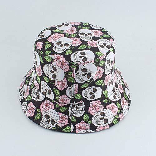 Nuevo Sombrero con Estampado de Moda, Sombrero de Cubo Negro y Blanco, Gorras de Pescador Reversibles, Sombreros de Verano para Mujer, Gorras-Pink Flower Skull
