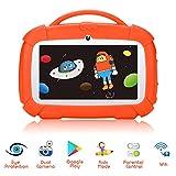 tablette pour enfants, 7 pouces android 9.0 tablette d'apprentissage avec mode verrouillage enfant, Écran tactile ips, wifi double caméra, Étui en silicone pour garçons et filles (orange-120)