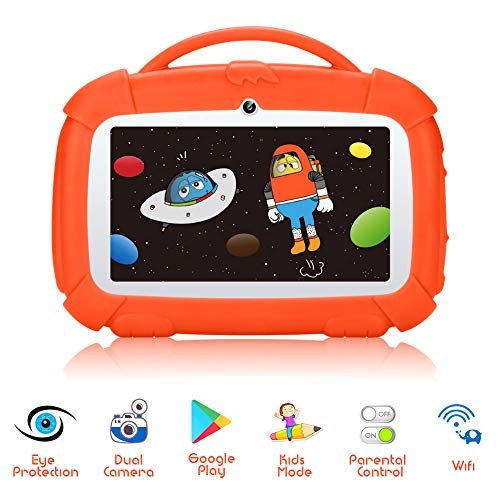 """7"""" Inch Kids Edition Tablet, Google Certificated Android 9.0 tablet with Parental Control mode, 1.5GHZ Quad Core, 1GB+16GB, WiFi, Bluetooth, Kid-proof Case - Qimaoo Kid Phablet Pad (Orange(120))"""
