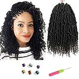 Bomb Twist Crochet Hair Mini Pre-twisted Passion Twist Hair Spring Twist Hair Synthetic Crochet Hair Curl End 6Packs 14 Inch…