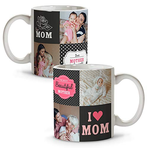 LolaPix Taza Personalizada con Foto y Texto. Regalos Día de la Madre. Taza Personalizada. Regalos Originales. Varios diseños. For Mom
