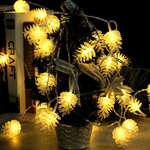 Runostrich Lichterkette mit Tannenzapfen, 40 LEDs, 6 m, für den Urlaub, Weihnachtsbaum-Dekoration, Innen- und Außenbereich, für Zuhause, Garten, Weihnachten, Hochzeit, Party, Festival-Dekoration