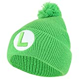 Armycrew Super Mario Luigi Logo Embroidered Pom Winter Cuffed Beanie Hat - Green