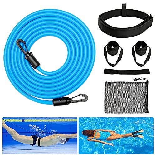 Cintura da Nuoto, BIGO Cintura per il Nuoto, Elastico per il Nuoto, Cintura da Allenamento Corda Allenamento Elastica con Fitness, Allenamento, Sport, per Bambini/Professionisti/Dilettanti (4M)