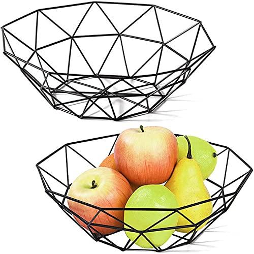 Cesta de Frutas,2 Piezas Cesta de Frutas Decorativa Geométrica,Frutero de Alambre de Metal,Cesta de Frutas Decorativa Moderna,para Almacenar Frutas, Verduras, Pan, Cosméticos (Negro)