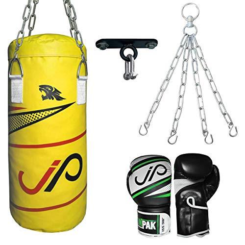 PDX SPORTS JP Kinder Boxsack, freistehend, mit Boxhandschuhen, gefüllt, 61 cm, Wandhalterung, Haken und Kette, Junior Kickboxen, schwere MMA-Trainingshandschuhe, Muay Thai Kampfsport, gelb, 2 FEET
