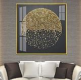 Cuadro En Lienzo Palabras de piedra dorada Luz Marco de aleación de aluminio de lujo Pintura de porcelana de cristal Decoración y pintura de la sala Modelo moderno Casa Mural Entrada cuadrada Hotel Of