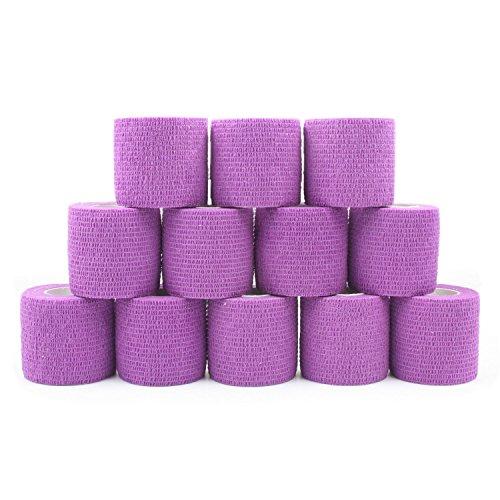 COMOmed Tissus non tissés pansement bandage pansements adhésifs Bandage animal,Bandage auto-adhésif élastique 5 cm X4.5m Pourpre 12 rouleaux