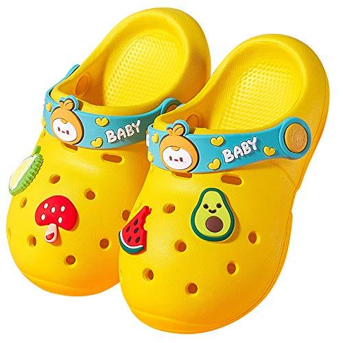 Sommer Pantoletten Kinder Hausschuhe Jungen Garten Sandalen Eva Clogs Baby Slip On Schlappen Kuschelig Strand Schuhe Outdoor Gelb 23/24