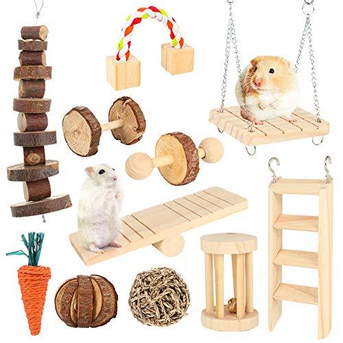 fanshiontide 11 Stück Hamster Chew Toys Natürliche Hanteln Aus Holz Übung Bell Roller Zähne Pflege Backenzahn Spielzeug Für Kaninchen Vogel Kaninchen Hamster Rennmaus