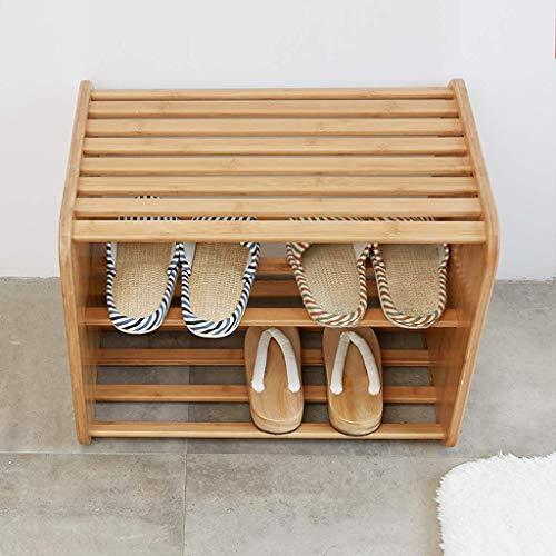 DXMRWJ Reposapiés de bambú con 2 estantes para Zapatos, Mesa Auxiliar pequeña Moderna para sofá Cama, Estante Compacto para Zapatos para baño, Pasillo, Dormitorio